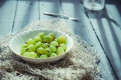 Close up ripe Green fresh gooseberry in ceramic bowl on rustic black wooden kitchen table back lightened by morning light. Farmer. Harvest, local market royalty free stock photography