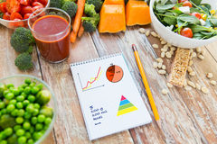 Close up of ripe vegetables and notebook on table Royalty Free Stock Image