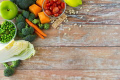 Close up of ripe vegetables on wooden table Stock Photography