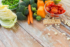 Close up of ripe vegetables on wooden table Royalty Free Stock Image