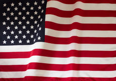 Close up of rippled American flag Stock Photos