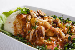 Close up of risotto with seafood Royalty Free Stock Images