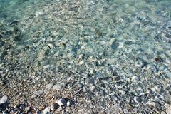 Close up on river bank shore with stones and pure turquoise crystal clear river background texture. Close up on river bank shore with stones and pure turquoise Royalty Free Stock Photography