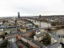 Close up of the river in frankfurt am main and the buildings around stock photos