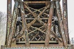 Rivet-Connected Warren Deck Truss Bridge. Close-up of a Rivet-Connected Warren Deck Truss, Fixed Bridge royalty free stock photos