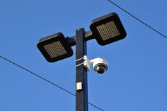 Close-up road lamp and video camera Stock Photo