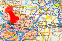 Close up of a Road Map with a Red Pushpin. Close up of a Road Map with the City of Washington DC Highlighted by a Red Pushpin Royalty Free Stock Images
