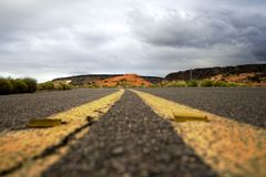 Close up on a road in Snow Canyon Park Royalty Free Stock Photos