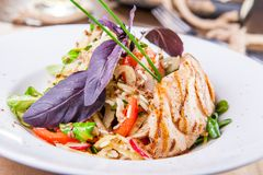 Close up roasted chicken salad with greenery and vegetables on the white plate. Selective focus, copy space royalty free stock photos