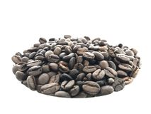Close up roasted coffee beans. In white background Stock Images
