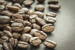 Close up of roasted coffee beans, selective focus. Stock Image