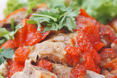 Close up  roasted duck served with vegetable Stock Photos