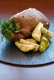 Close up of roasted duck and sweet pears. Stock Photos