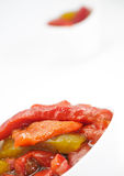 Close up of roasted pepper salad. Fusion style Stock Image