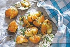 Close up of roasted potatoes Stock Photos