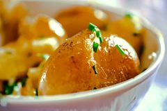 Close up of roasted potatoes Royalty Free Stock Images