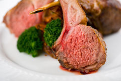 Close-up of Roasted Rack of Lamb Stock Photography