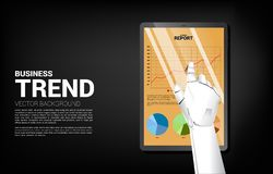 Close up robot hand touch business graph report in tablet. stock illustration