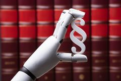 Robot Holding Paragraph Symbol stock photography