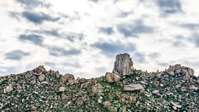 Close up of the rock named Tom`s Thumb in the McDowell Mountain Range. Around Phoenix, Arizona stock photo
