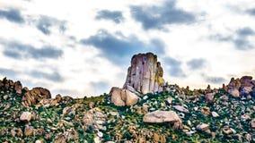 Close up of the rock named Tom`s Thumb in the McDowell Mountain Range. Around Phoenix, Arizona stock photos