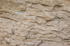 Layered Cliff Wall Texture. Close up of a rock wall showing layers and textures Royalty Free Stock Photography