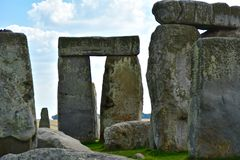Rocks of Stonehenge On a Cloudy Summer Day. Close up of Rocks of Stonehenge On a Cloudy Summer Day stock images