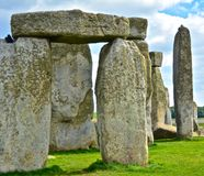 Rocks of Stonehenge On a Cloudy Summer Day. Close up of the Rocks of Stonehenge On a Cloudy Summer Day royalty free stock image