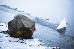Close up on rocks surrounded by frozen ice plaques in winter season lake. Texture Royalty Free Stock Photo