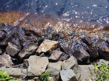 Close up of rocky shore line. Close up of a rocky shore line stock photo