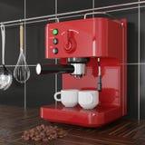 Close-up Rode Espresso die Machine voor Zwarte Tegelmuur maken het 3d teruggeven royalty-vrije stock afbeelding