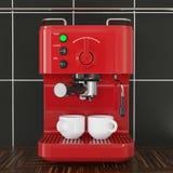 Close-up Rode Espresso die Machine voor Zwarte Tegelmuur maken het 3d teruggeven stock fotografie