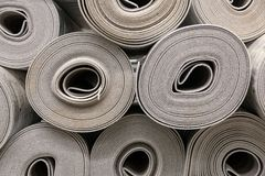 Close up roll of car insulation polyester fiber stock photo