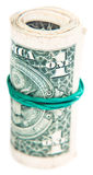 Close-up of a roll of dollar banknotes Royalty Free Stock Image