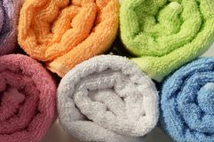 Bath towels. Close up of rolled bath towels Royalty Free Stock Photo