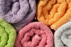 Rolled bath towels. Close up of rolled bath towels Stock Photo