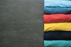 Close up of rolled colorful clothes Stock Image