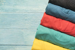 Close up of rolled colorful clothes Royalty Free Stock Images
