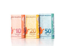 Close up of rolled up Malaysia Ringgit currency note Royalty Free Stock Image