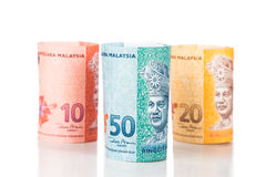 Close up of rolled up Malaysia Ringgit currency note Royalty Free Stock Photo