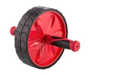 Close-up roller for training abdominal muscles on white background. Fitness Roller. stock image