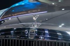 Nonthaburi , Thailand - Dec 6, 2018: close up Rolls Royce brand logo in motor show . Close up Rolls Royce brand logo in motor show stock images