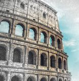 Close up on Roman colloseum in Rome, Italy, black and white, sketch to photo effect, soft focus. Close up on Roman colloseum in Rome, Italy, sketch to photo stock photography