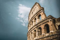 Close up on Roman colloseum in Rome, Italy, royalty free stock images
