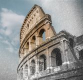 Close up on Roman colloseum in Rome, Italy, sketch to photo effect, soft focus. Close up on Roman colloseum in Rome, Italy, black and whiteClose up on Roman stock images