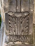 Close-up of romanesque ornate column stock photography