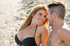 Close up of romantic couple with face expression. Royalty Free Stock Image