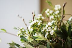 Close-up of romantic green flower bouquet Royalty Free Stock Photo