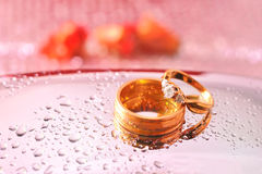 Close up romantic wedding ring with celebration background, sele Stock Photo
