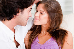 Close up of romantic young couple in passion look Stock Images